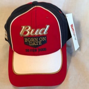 """NWT Chase Authentics racing cap Bud """"born on date"""""""